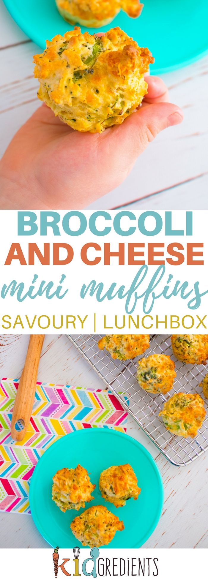 broccoli and cheese mini muffins, a savoury muffin perfect for the lunchbox.  Easy to make and super kidfriendly freezer friendly too! #kidsfood #yummy #recipe #healthykids via @kidgredients