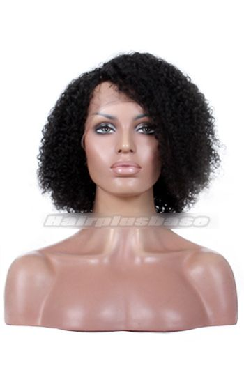 $112 Jheri Curl Natural Looking Indian Remy Hair Side Part Glueless Lace Part Lace Wigs