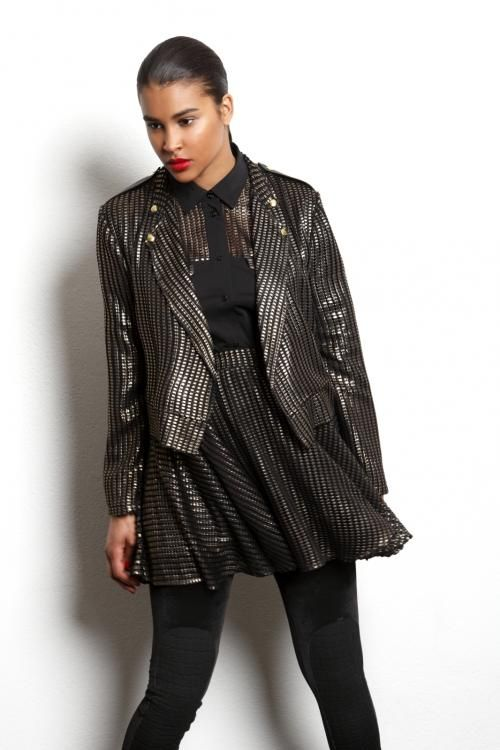 METALLICA SKIRT AND JACKET IN GOLD CHECK by R/H.