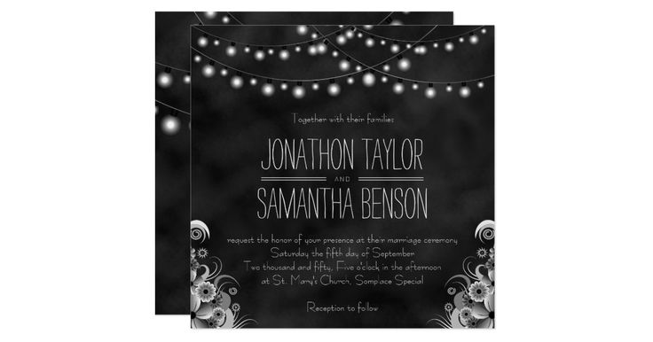 """String of Lights Chalkboard – SOLC100 © Sunny Mars Designs. Stylish, modern, elegant, classy, trendy, chic customizable formal or cute casual  5.25"""" x 5.25"""" wedding invitations with a beautiful black chalkboard design featuring bulbs of rope or string lights hanging above with a floral tropical design below."""