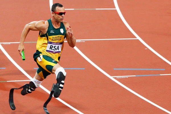 Blade runner of South Africa's Oscar Pistorius runs the final leg of the men's 4x400m relay final.