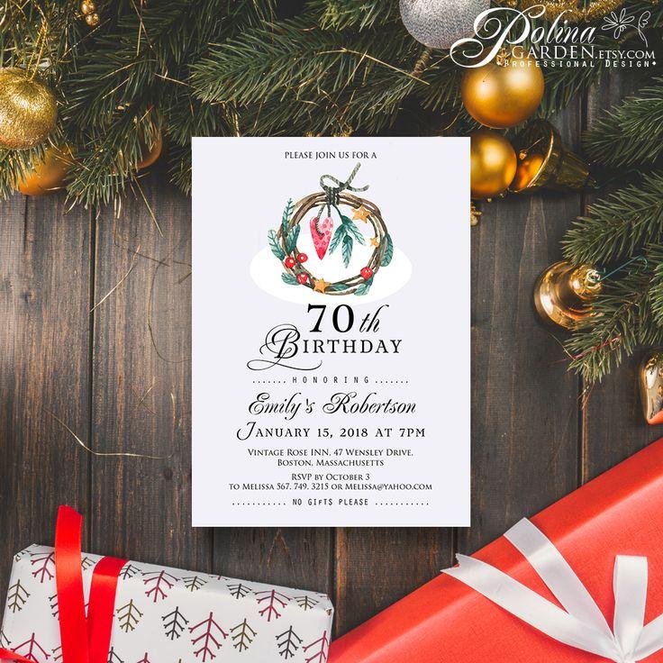 free ecard christmas party invitations%0A Winter Wreath Birthday Invitation Watercolour Birthday Invite Printable  Winter Birthday Party Invitation Template Adult Birthday https