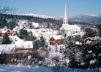 New England village in the snow.