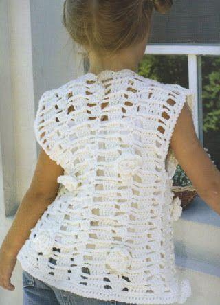 Foto: Chaleco para nena a crochet con flores 6 a 8 años