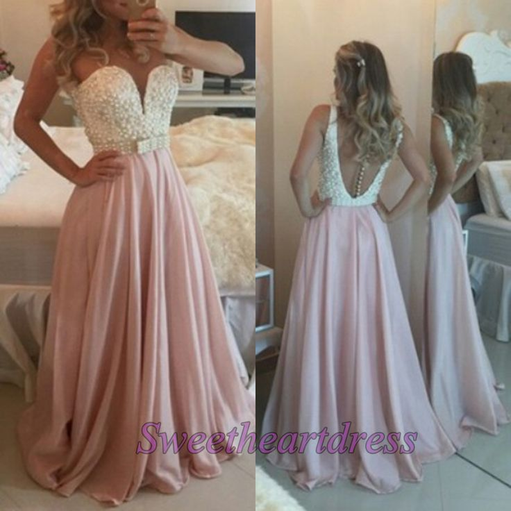 2016 blush pink long prom dress - http://sweetheartdress.storenvy.com/products/14382294-rose-pink-chiffon-beading-a-line-round-neck-long-prom-dresses