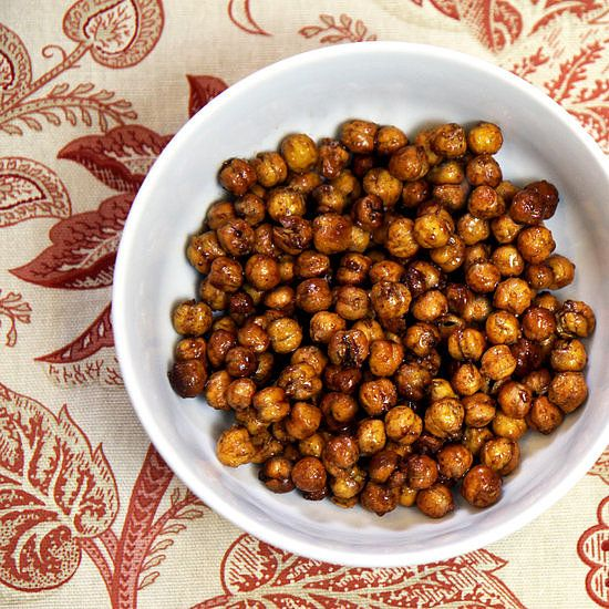 Roasted Honey Cinnamon Chickpeas: High in protein and fiber, chickpeas offer a satisfying crunch when roasted, and if you toss them with a little honey and cinnamon, you'll have a sweet treat that will also give you a boost of energy. Calories: 146 per serving Fiber: 4.5 grams Protein: 6.2 grams