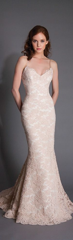 modern trousseau spring 2016 alice colored lace sleeveless fit to flare mermaid wedding dress #weddingdress #mermaidweddingdress