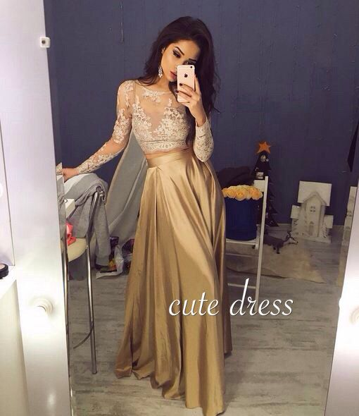 Unique champagne chiffon lace long prom dress for teens,evening dress 2016