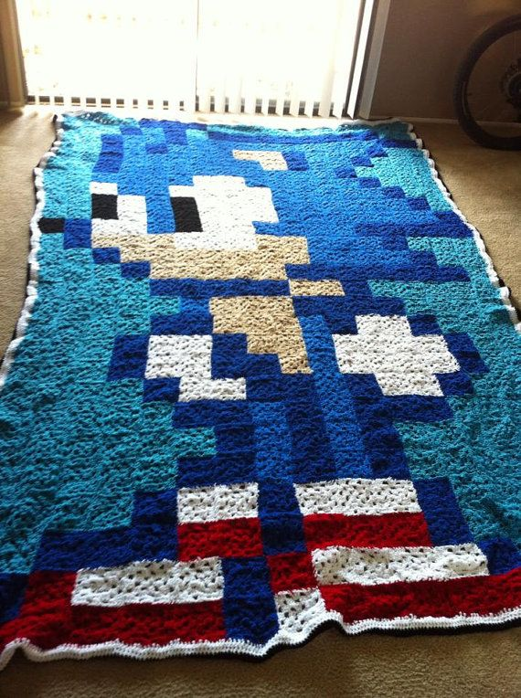 Sonic Crocheted Granny Square Blanket by RachelsCraftStore on Etsy
