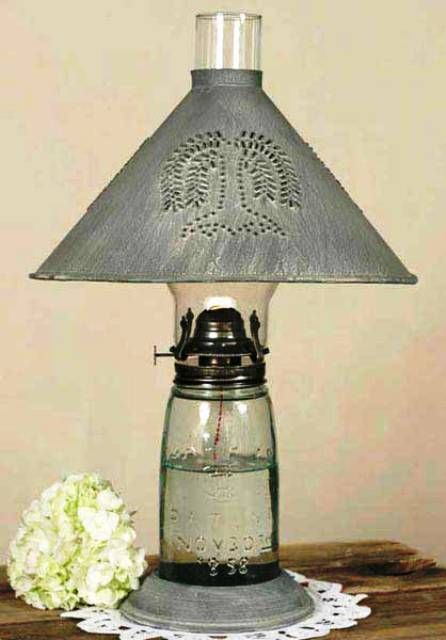 Mason Jar Oil Lamp With Willow Shade Quart Weathered Galvanized Base Of Is 12 Tall And 18 To Top O I Effing Love Jars