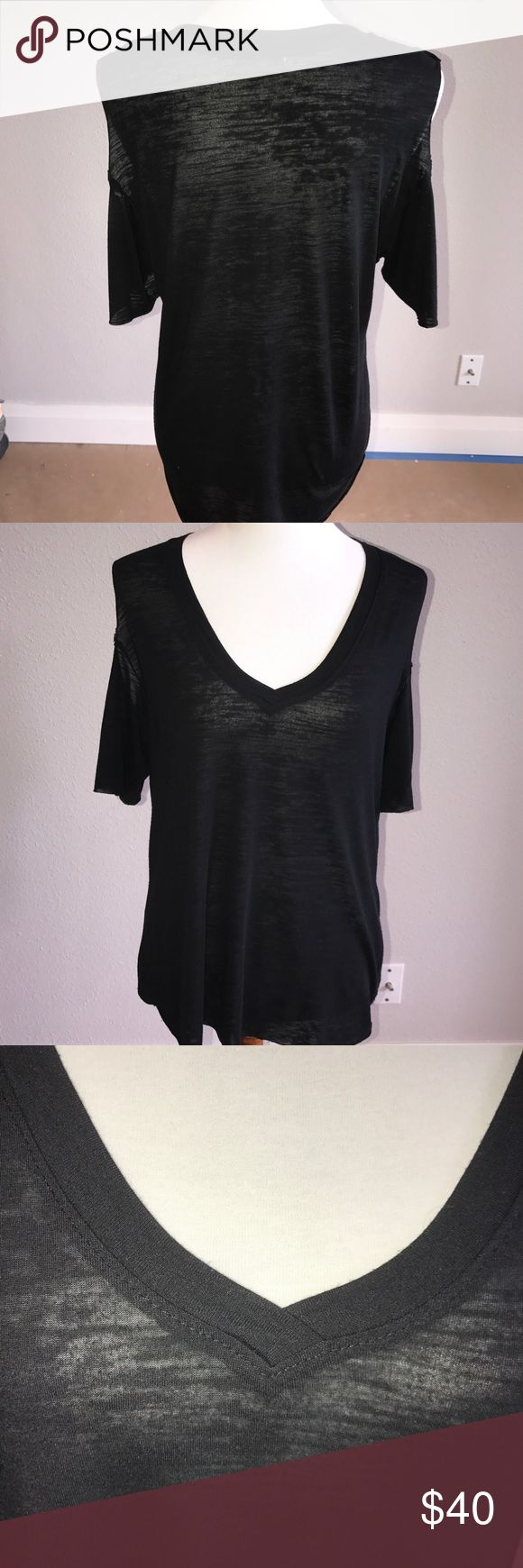 "Nation Cold Shoulder Top Black burnout like fabric NATION LTD. Woman's Burnout Cold Shoulder Pullover Top. Slight burnout/slubbing of fabric. Light weight. NATION brand made in the 🇺🇸.20"" Armpit to Armpit. Length 24"". In very good condition.  Purchased last summer at Bloomingdales. NATION LTD Tops Tees - Short Sleeve"