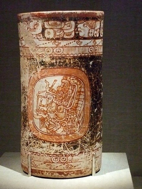 Cylinder vase of a goddess Maya Late Classic Period Mexico 8th century CE earthenware