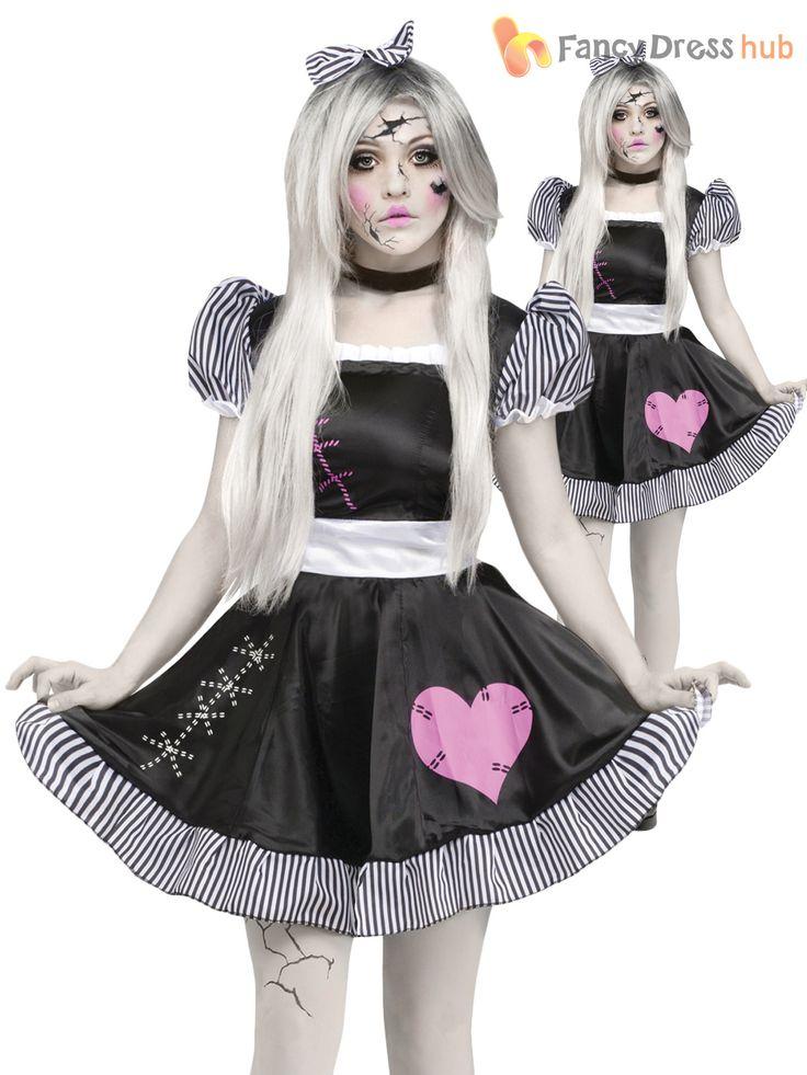 Ladies-Halloween-Broken-Rag-Doll-Fancy-Dress-Costume-Zombie-Ghost-Womens-Outfit