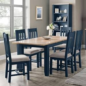 Grecian Wooden Dining Table In Midnight Blue With Four Chairs Furniture In Fashion In 2020 Dining Table Chairs Dining Room Blue Blue Dining Tables