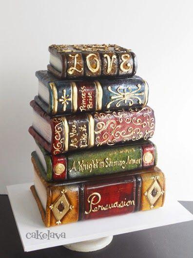 cakelava: Non-Traditional Wedding Cakes: Regi and Jeff's Stack of Books