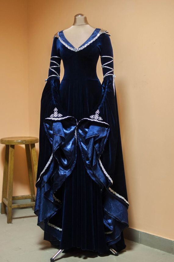 A midnight-blue elven dress Made to order FREE SHIPPING