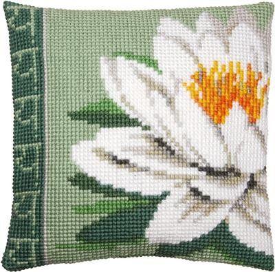"""Kruissteek pakket kussen """"witte lotusbloem"""". Kruissteken op handgeschilderd stramien om gemakkelijk te borduren."""