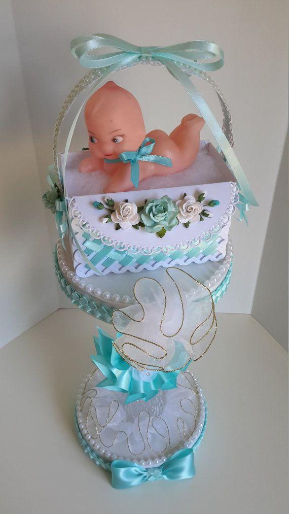 Centro de mesa de turquesa bebé ducha pieza central de ducha