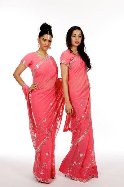 Coral Matching Bridesmaid Saris | Saris and Things