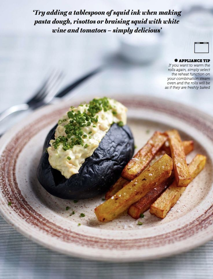Our recipe for Squid Ink Lobster Rolls and Triple Cooked Chips is sure to impress guests with it's dark inky hue. To reheat the rolls, simply select the reheat function on your combination steam oven and the rolls will be as if they are freshly baked