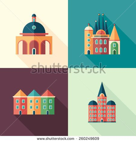 Set of colorful buildings flat square icons with long shadows. #buildingicon #flaticons #vectoricons #flatdesign