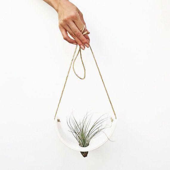 Hanging Air Plant Cradle (tm) - Natural White Earthenware Planter Vase
