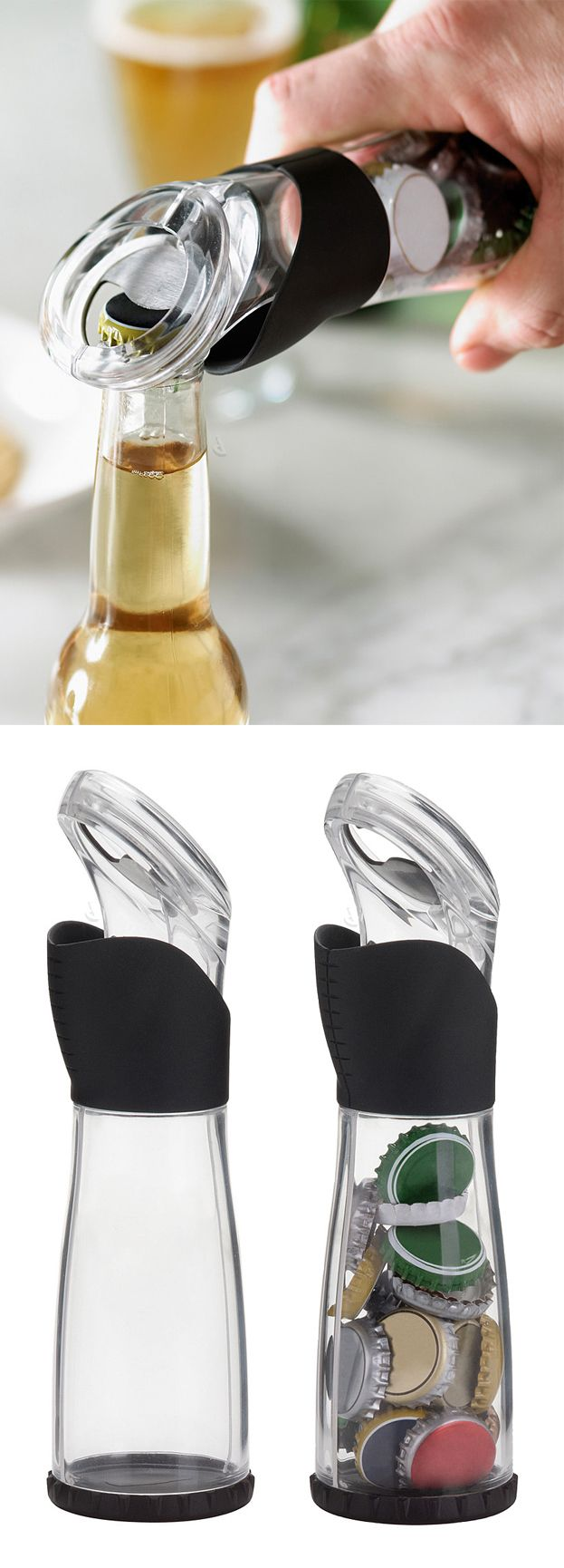 Bottle opener // collects the cap as you open your drink! Handy #product_design