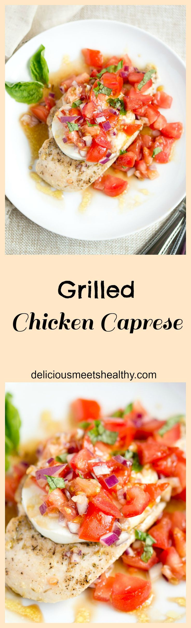 Grilled Chicken Caprese | Light and delicious weeknight meal, ready in less than 30 minutes. It's also healthy, low-carb, gluten-free and grain-free. | #glutenfree #healthy #light #skinny #summer #weeknight | www.deliciousmeetshealthy.com