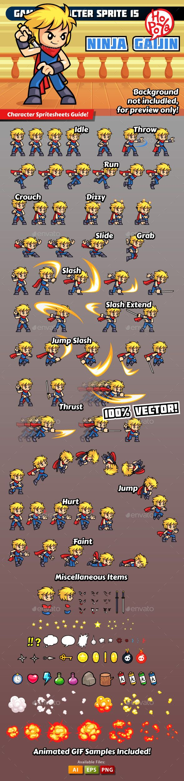 Game Character Sprite 15 By Kemotaku Ninja Gaijin Character Spritesheet For  Side Scrolling Action Adventure Hack U0026 Slash Mobile Game.