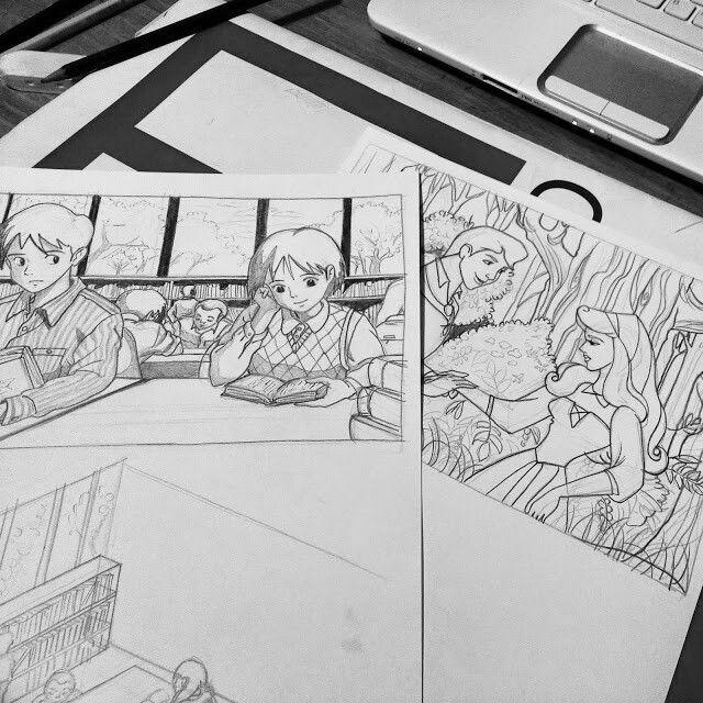 Sketch di qualche mese fa di 'La bella addormentata' e 'I sospiri del mio cuore' di Miyazaki.