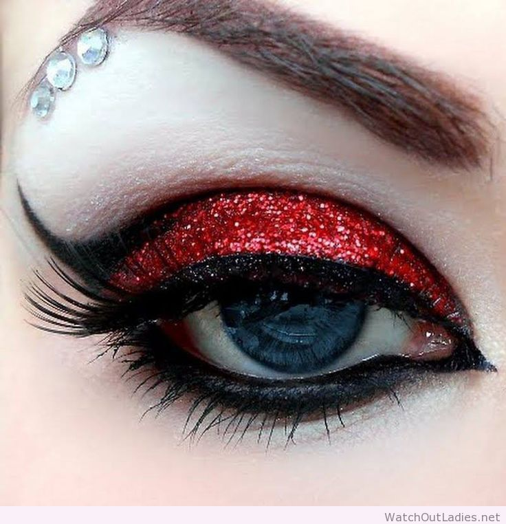 Black and blood red eye makeup