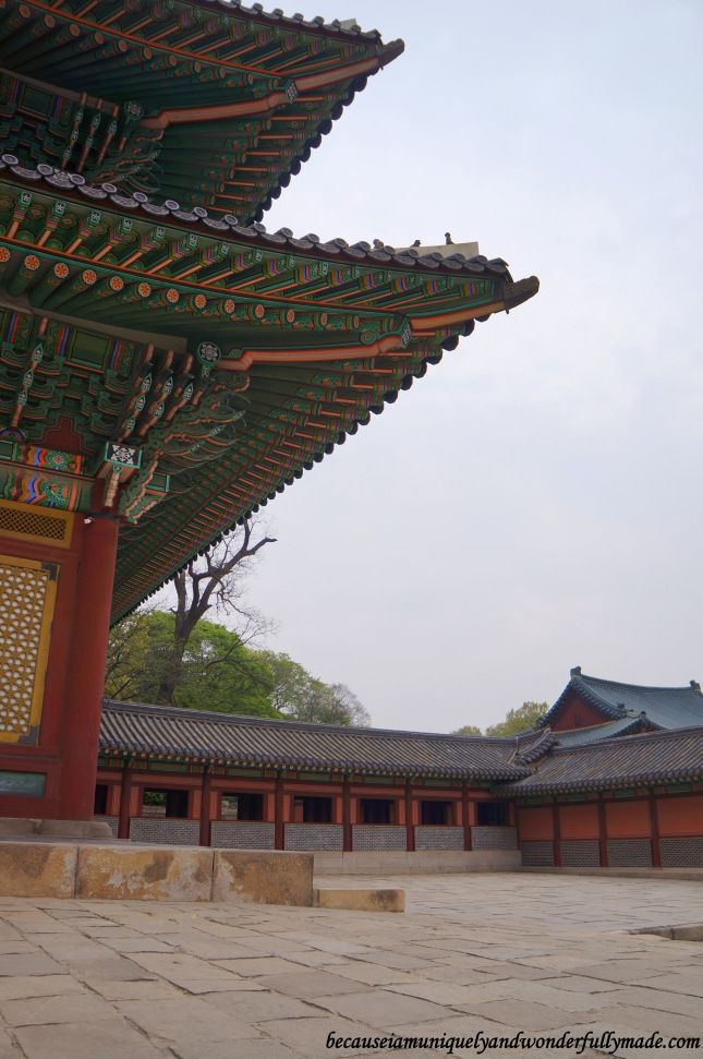 The courtyard on the side of Injeongheon Hall 인정전 at Changdeokgung Palace 창덕궁 in…