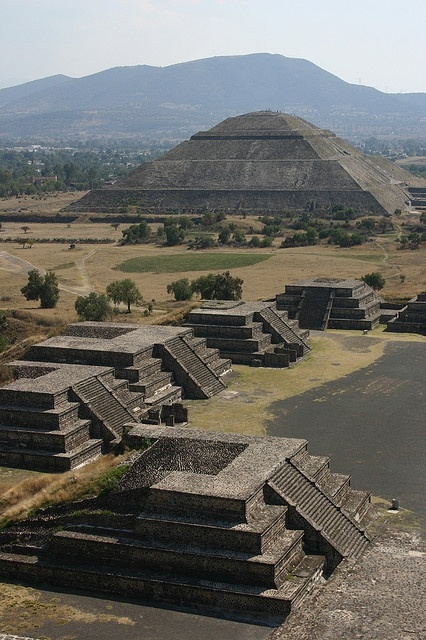 Teotihuacan, Mexico - The earliest buildings at Teotihuacan date to about 200 BCE. The largest pyramid, the Pyramid of the Sun, was completed by 100 CE.