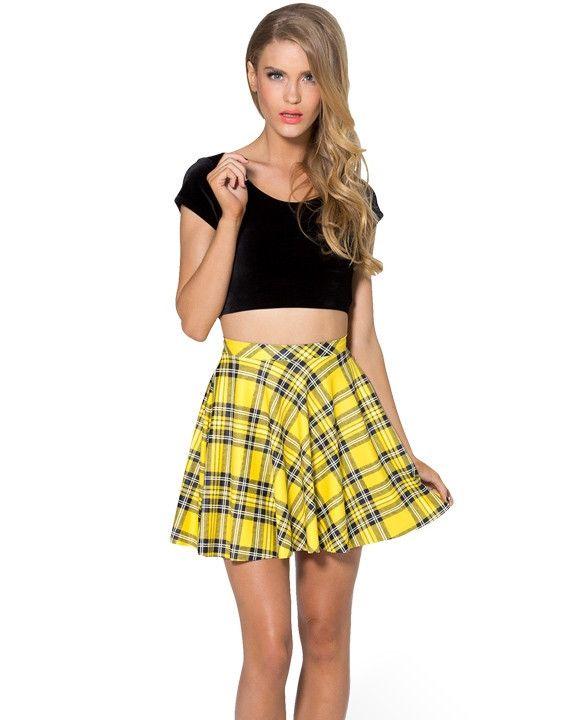 Stretch Waist Pleated Mini Skirt, yellow, short, plaid, summer