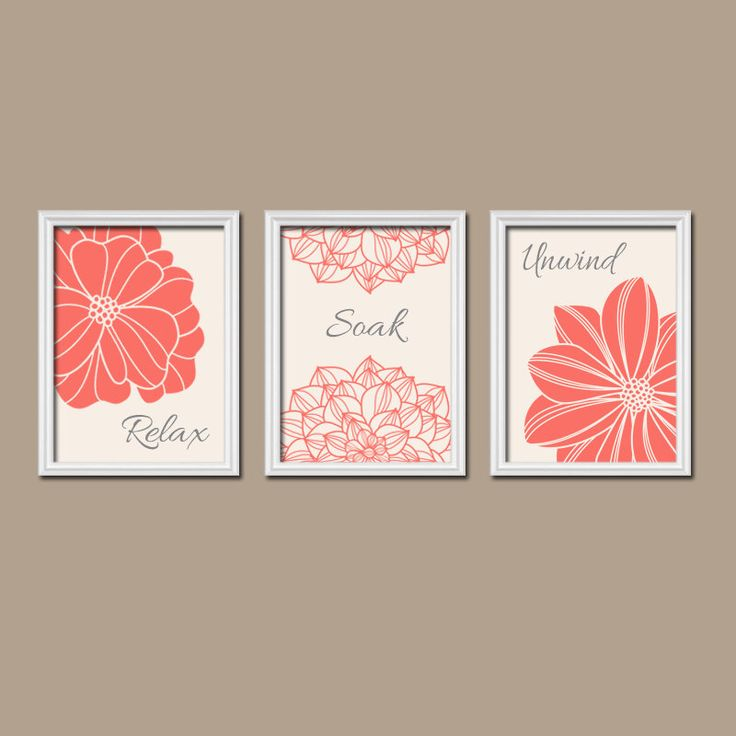 Bathroom Decor Coral Bathroom Wall Art Canvas Or Prints Coral Bathroom Artwork Flower Dahlia Relax Soak Unwind Quote Bathroom Set Of 3