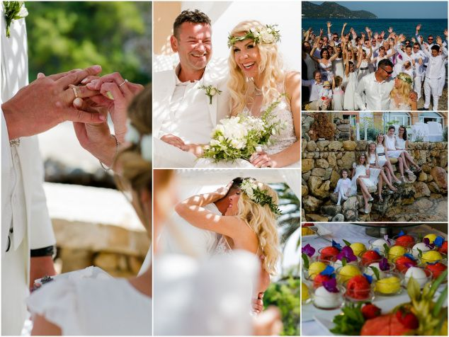 M&G's Seaside Destination Wedding in Mallorca. M&G, originally from Germany, tied the knot in a laid-back, friendly, small ceremony with family and friends – what a beautiful setting! #Seaview #Seaside #Beach #Wedding #Mallorca #Spain #Love #Meerblick #Strand #Hochzeit #Strandhochzeit #Spanien