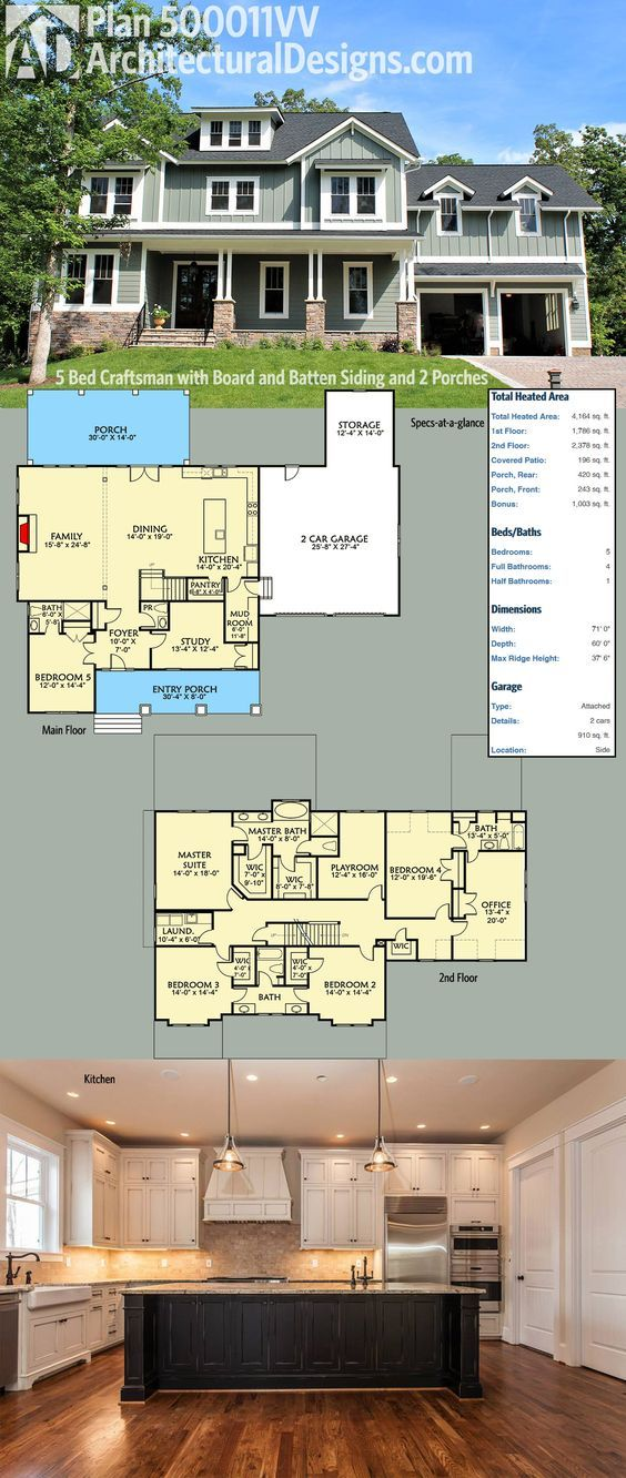 Architectural Designs Craftsman House Plan 500011VV with board and batten siding and 2 porches it is the warm and inviting home you've been looking for. Inside you get 5 beds, an open 1st floor design w/ 4 bedrooms an office and play room on the 2nd floor. Over 4100 square feet of heated living space. Ready when you are. Where do YOU want to build?