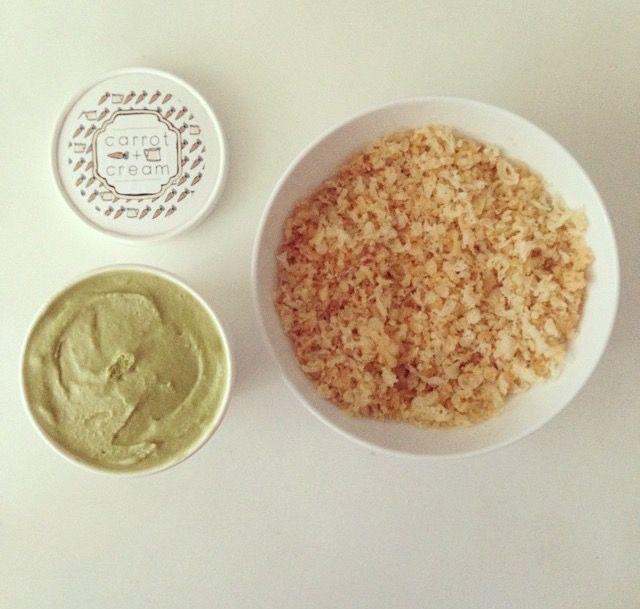 green tea ice cream + tempura flakes