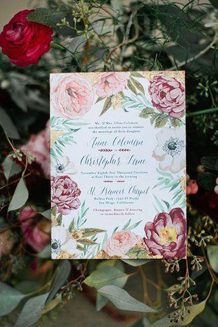 Каллиграфия на свадьбе, приглашение на свадьбу с цветами