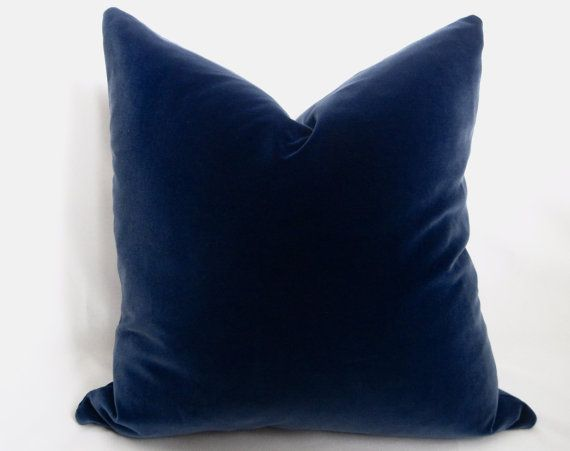 Luxurious Cotton Velvet Designer Pillow cover in a beautiful shade of Midnight Navy (dark true regal navy). Midnight Navy blue velvet on both sides