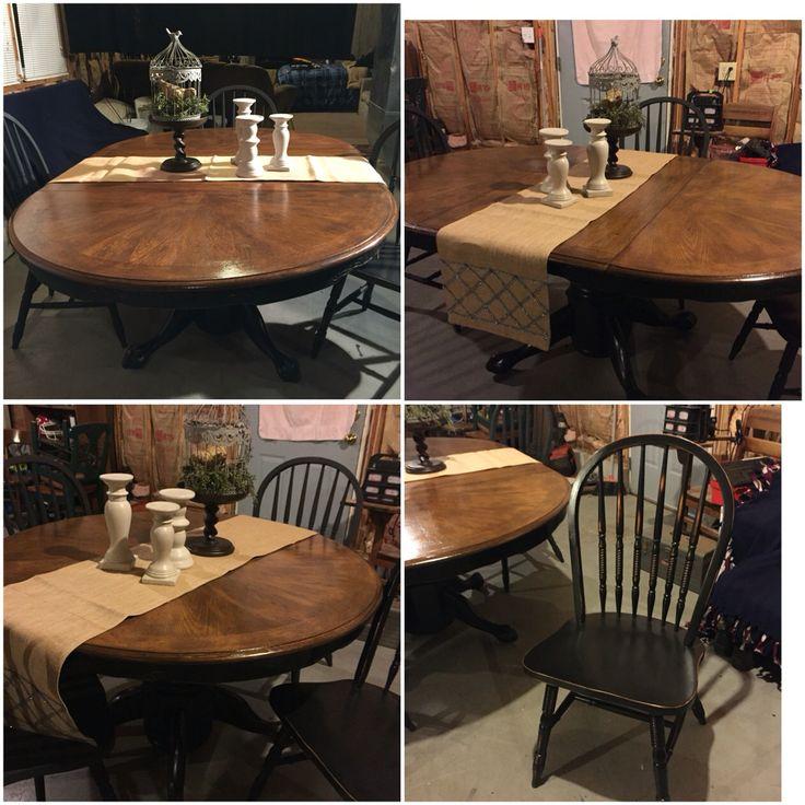Old Oak Kitchen Table, Sanded Top, Painted Base, Dark