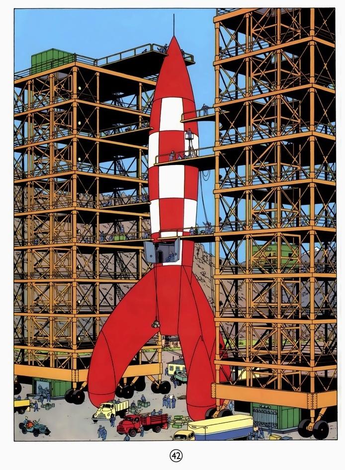 Tintin Destination Moon • the moon rocket launch pad • Herge, Tintin et moi • riawati