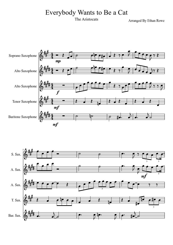Sheet music made by Nano9800 for 5 parts: Soprano Saxophone, Alto Saxophone, Tenor Saxophone, Baritone Saxophone