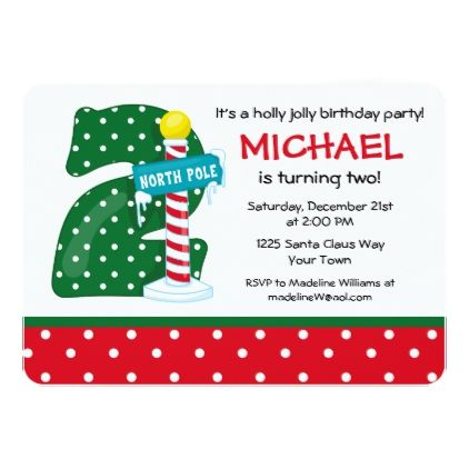 North Pole 2nd Birthday Card - invitations personalize custom special event invitation idea style party card cards