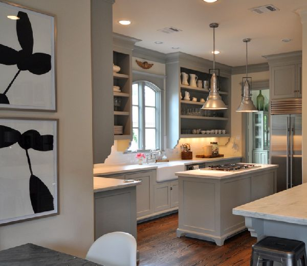 cabinets painted Martha Stewart Fieldstone, open shelves, farmhouse sink, calcutta marble counter