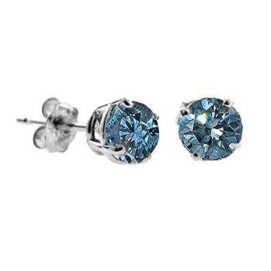 1 CT Blue Diamond Stud Earrings 14k White Gold