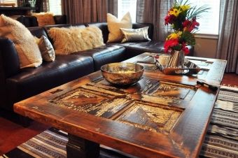 old door as a coffee table