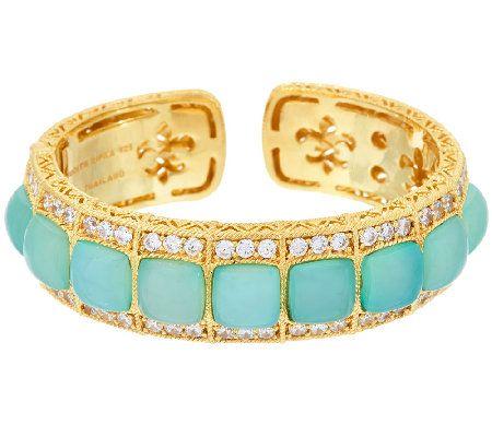 Judith Ripka Sterling & 14K Clad Blue Chalcedony Cuff Bracelet