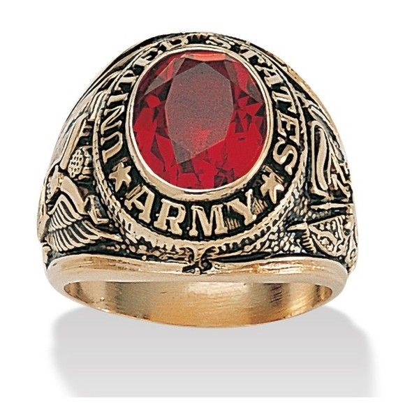 Go Army! And go get this rugged, antiqued ring to salute his Army service. A classic design, set with a simulated ruby. Sizes 7-13. 14k gold-plated. Size: …