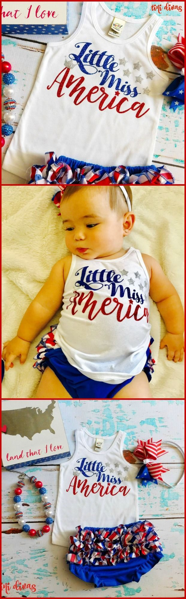 """Girls """"Little Miss America"""" Tank Top - (Perfect for 4th of July!) #ad"""